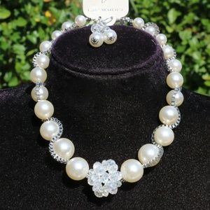 New! Boho Pearl Statement Necklace Silvertone Set